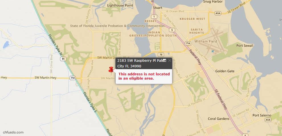 USDA Loan Eligiblity Maps From - Palm City, FL