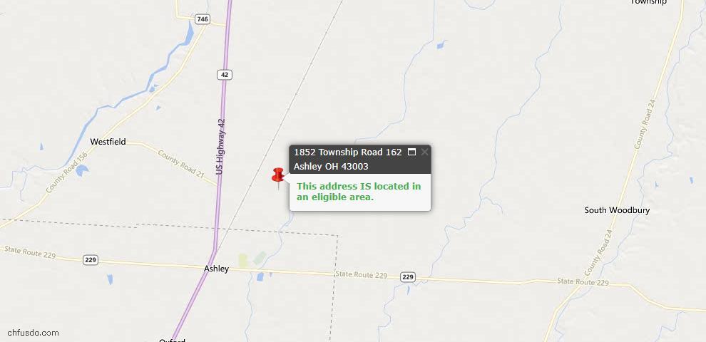 USDA Loan Eligiblity Maps From - Ashley, OH