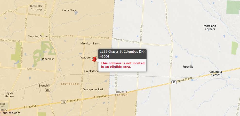 USDA Loan Eligiblity Map - 1132 Chaser St, Blacklick, OH 43004