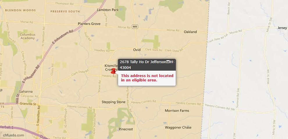 USDA Loan Eligiblity Maps From - 43004, OH
