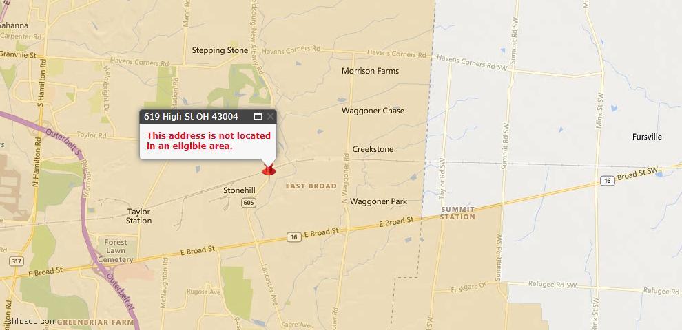 USDA Loan Eligiblity Map - 619 High St, Blacklick, OH 43004
