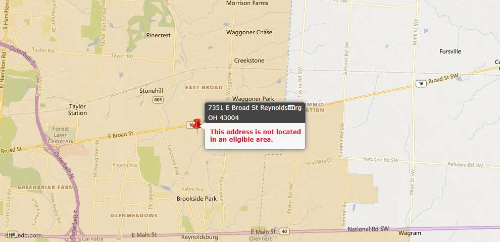 USDA Loan Eligiblity Maps From - Blacklick, OH
