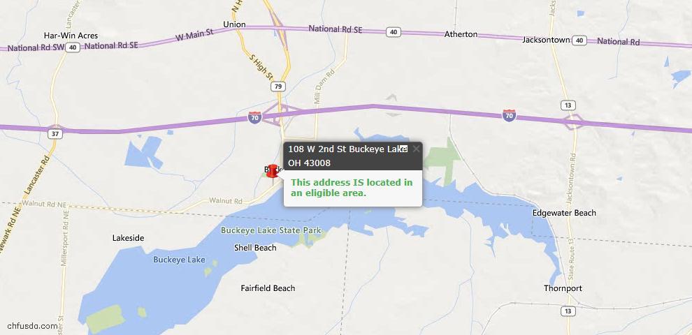 USDA Loan Eligiblity Maps From - Buckeye Lake, OH