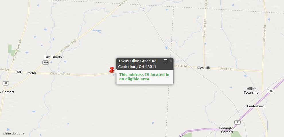 USDA Loan Eligiblity Maps From - Centerburg, OH