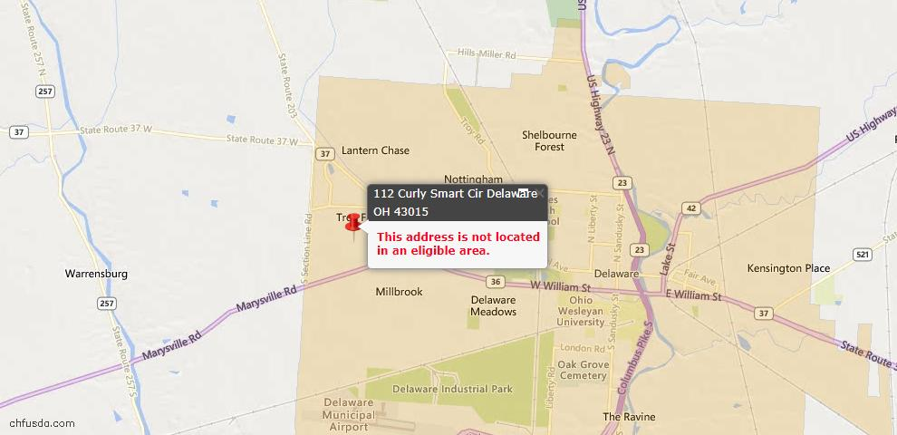 USDA Loan Eligiblity Map - 112 Curly Smart Cir, Delaware, OH 43015