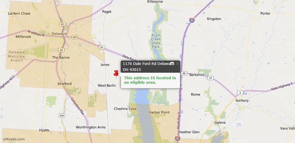 USDA Loan Eligiblity Map - 1176 Dale Ford Rd, Delaware, OH 43015