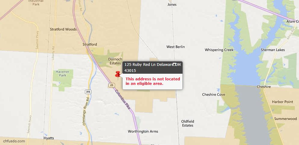 USDA Loan Eligiblity Maps From - Delaware County, OH
