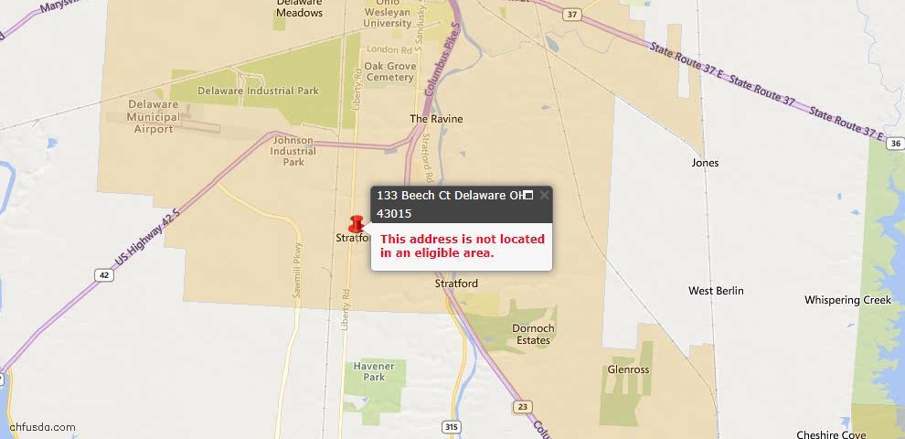 USDA Loan Eligiblity Map - 133 Beech Ct, Delaware, OH 43015