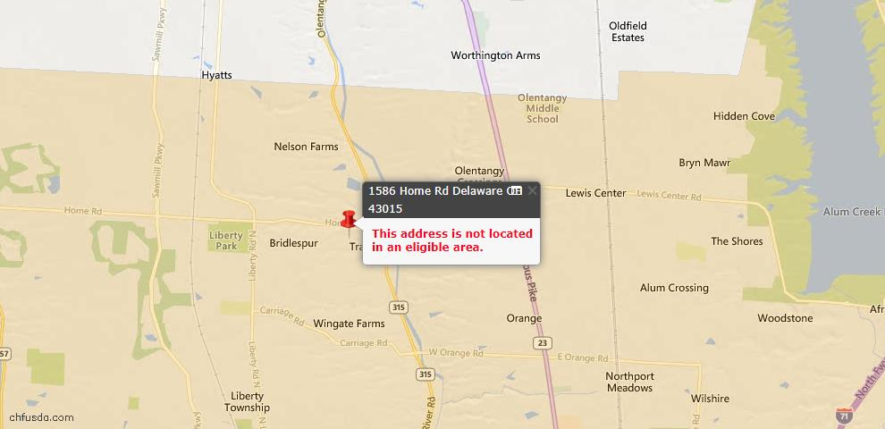 USDA Loan Eligiblity Map - 1586 Home Rd, Delaware, OH 43015