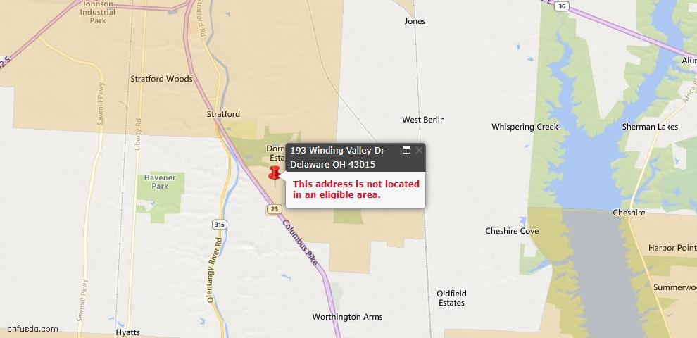 USDA Loan Eligiblity Map - 193 Winding Valley Dr, Delaware, OH 43015