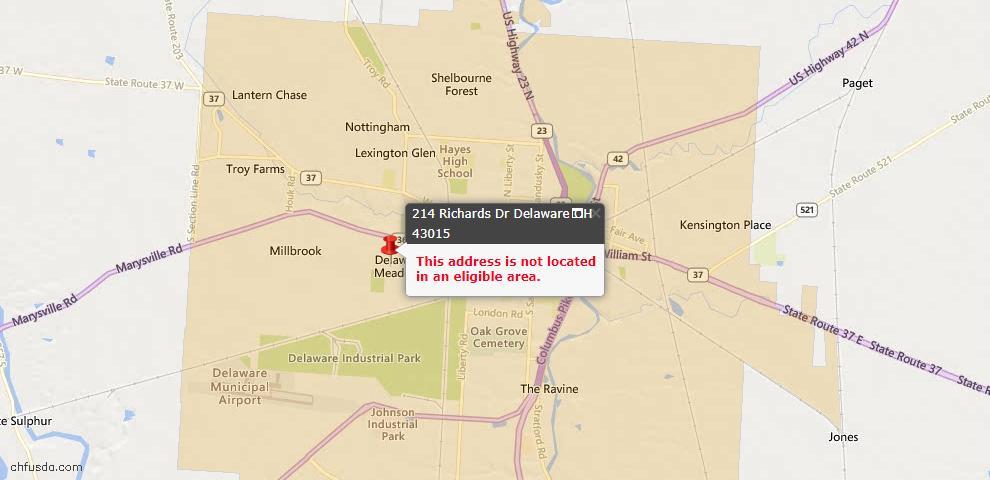 USDA Loan Eligiblity Map - 214 Richards Dr, Delaware, OH 43015