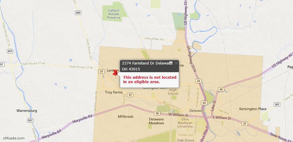 USDA Loan Eligiblity Map - 2274 Farmland Dr, Delaware, OH 43015