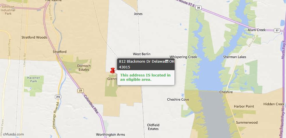 USDA Loan Eligiblity Maps From - Delaware, OH