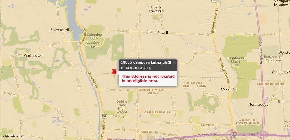 USDA Loan Eligiblity Map - 10855 Campden Lakes Blvd, Dublin, OH 43016