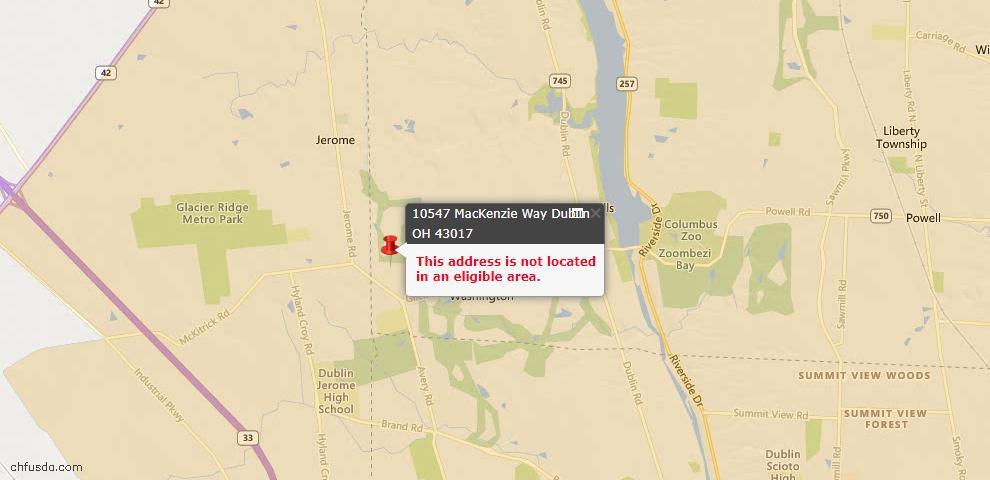 USDA Loan Eligiblity Map - 10547 Mackenzie Way, Dublin, OH 43017