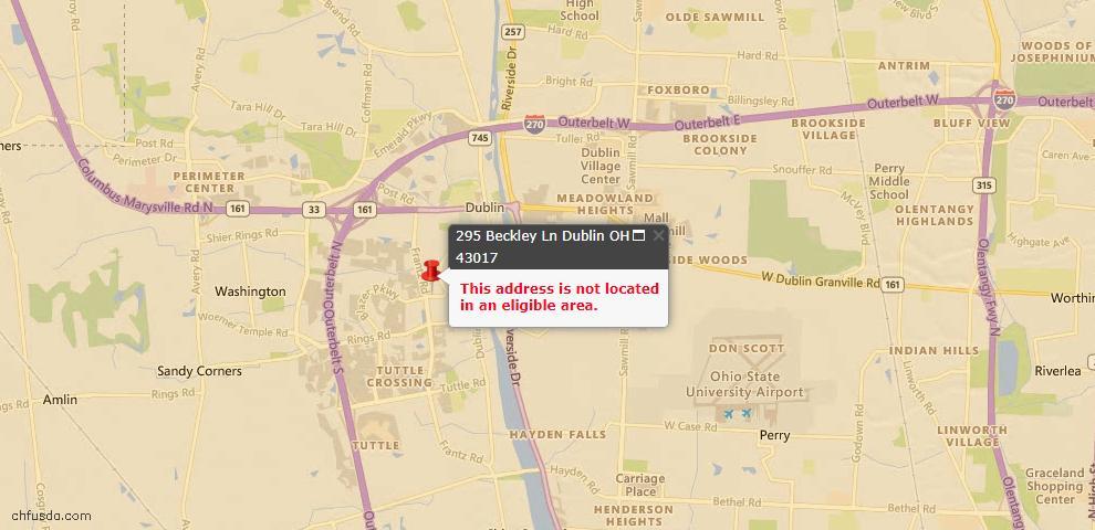 USDA Loan Eligiblity Map - 295 Beckley Ln, Dublin, OH 43017
