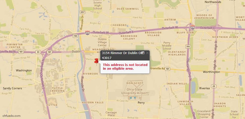 USDA Loan Eligiblity Map - 3154 Rimmer Dr, Dublin, OH 43017