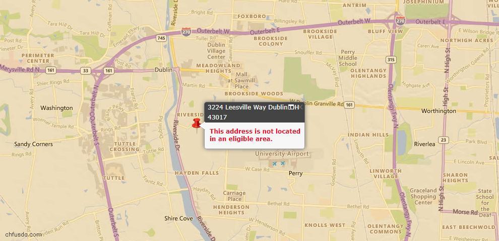 USDA Loan Eligiblity Map - 3224 Leesville Way, Dublin, OH 43017