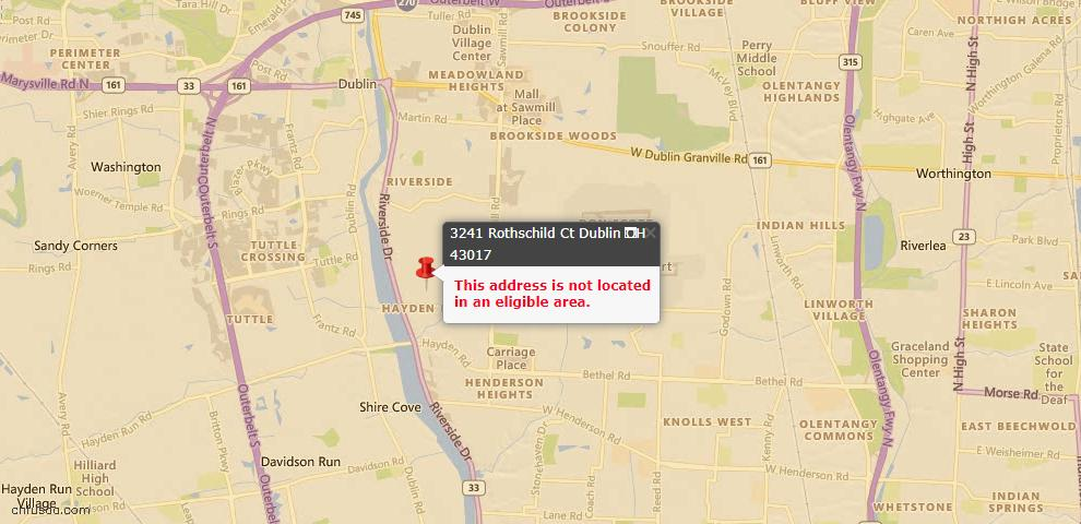 USDA Loan Eligiblity Map - 3241 Rothschild Ct, Dublin, OH 43017