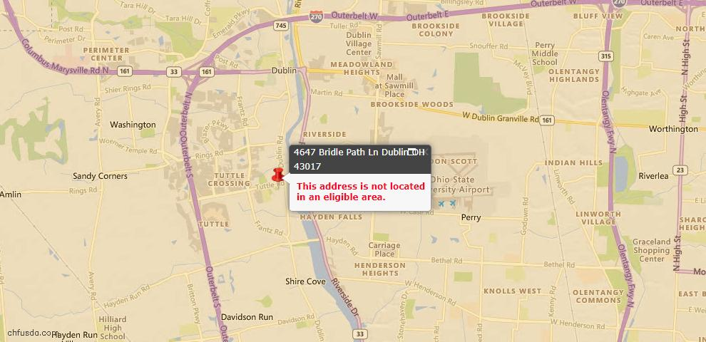USDA Loan Eligiblity Map - 4647 Bridle Path Ln, Dublin, OH 43017