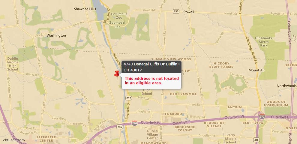 USDA Loan Eligiblity Map - 4743 Donegal Cliffs Dr, Dublin, OH 43017