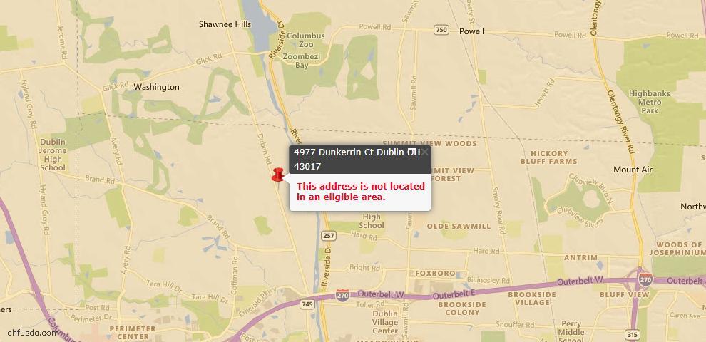 USDA Loan Eligiblity Map - 4977 Dunkerrin Ct, Dublin, OH 43017