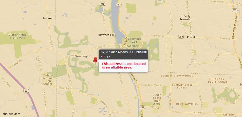 USDA Loan Eligiblity Maps From - Dublin, OH