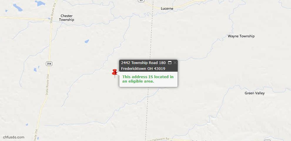 USDA Loan Eligiblity Maps From - Fredericktown, OH