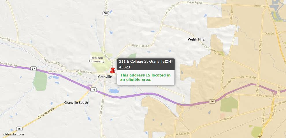 USDA Loan Eligiblity Maps From - Granville, OH