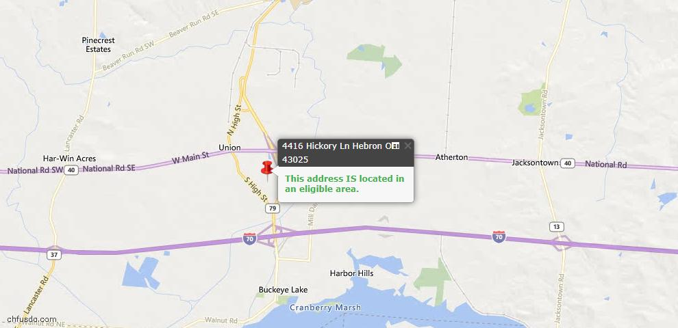USDA Loan Eligiblity Maps From - Hebron, OH