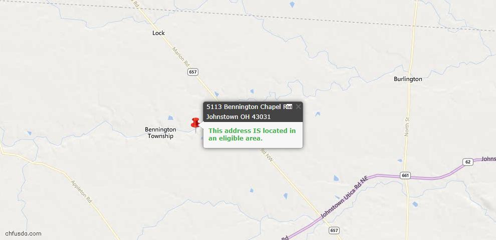 USDA Loan Eligiblity Maps From - Johnstown, OH