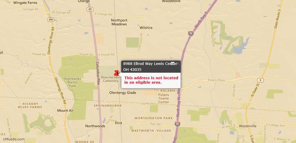 USDA Loan Eligiblity Maps From - Lewis Center, OH