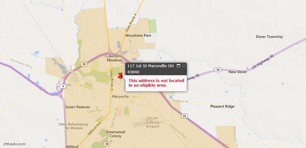 USDA Loan Eligiblity Maps From - Marysville, OH