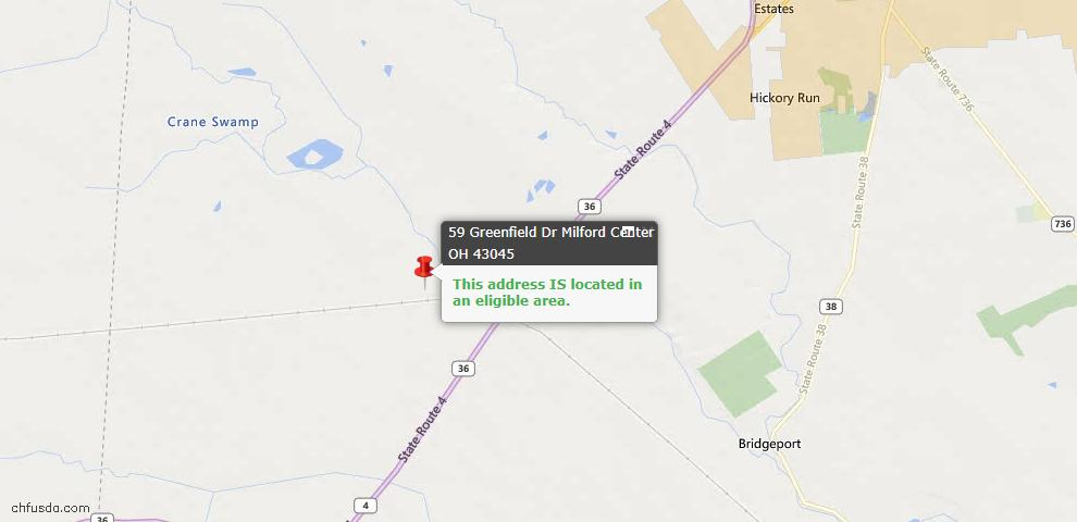 USDA Loan Eligiblity Maps From - Milford Center, OH