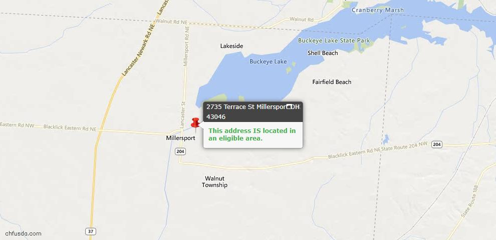 USDA Loan Eligiblity Maps From - Millersport, OH