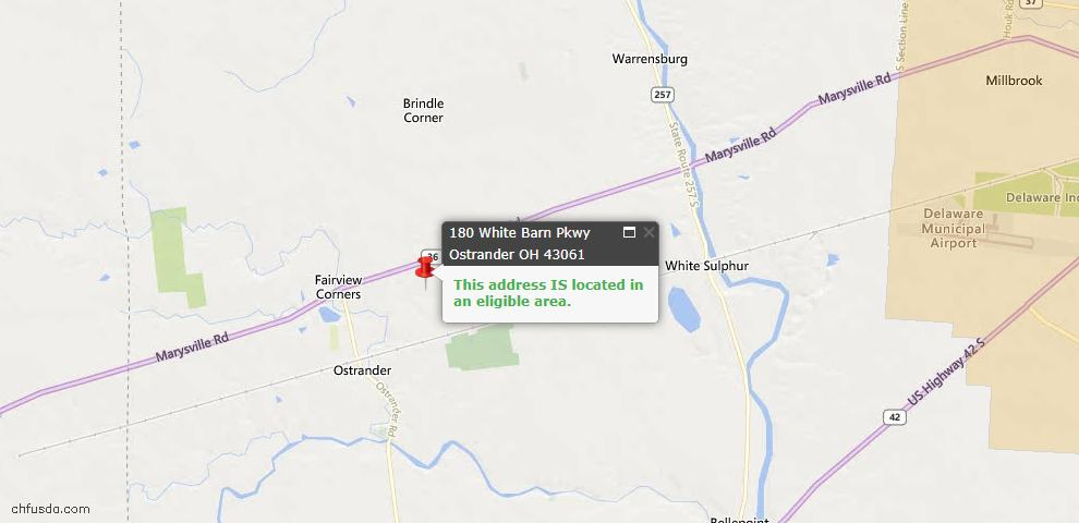 USDA Loan Eligiblity Maps From - Ostrander, OH
