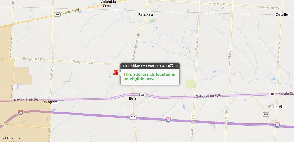 USDA Loan Eligiblity Maps From - Etna, OH