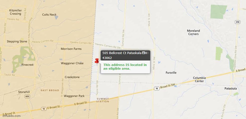 USDA Loan Eligiblity Maps From - Pataskala, OH