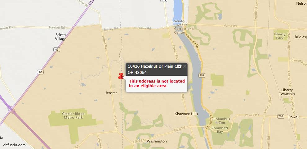 USDA Loan Eligiblity Maps From - Plain City, OH