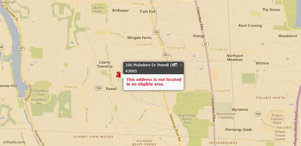USDA Loan Eligiblity Maps From - Powell, OH