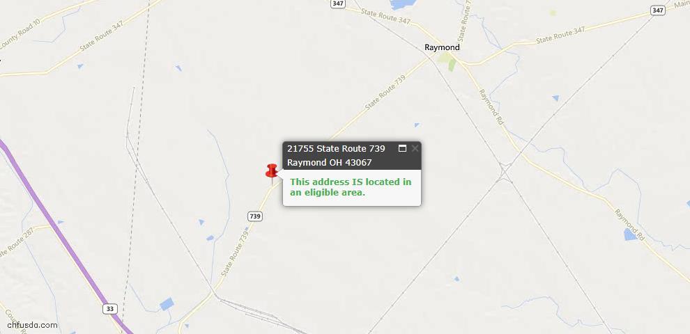 USDA Loan Eligiblity Maps From - Raymond, OH