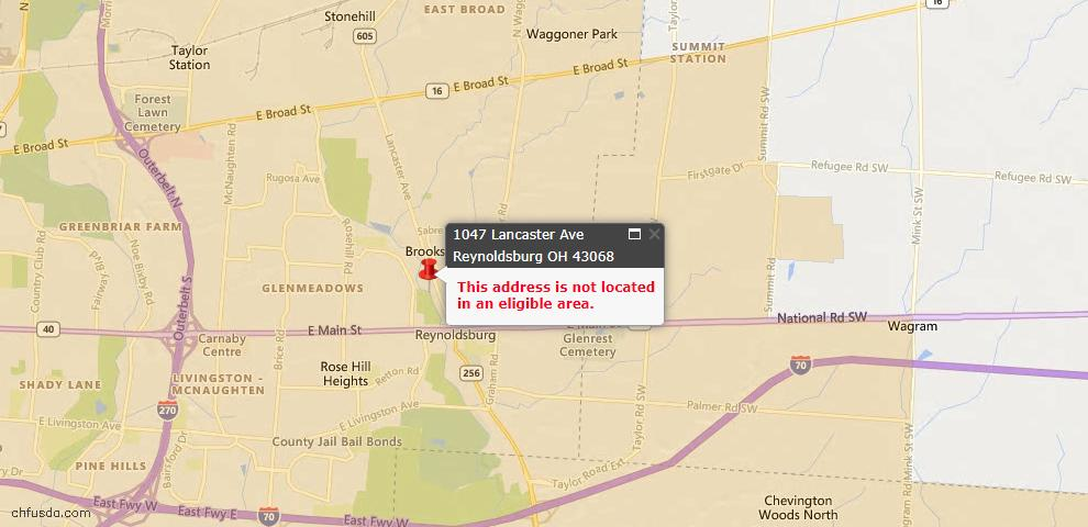 USDA Loan Eligiblity Map - 1047 Lancaster Ave, Reynoldsburg, OH 43068