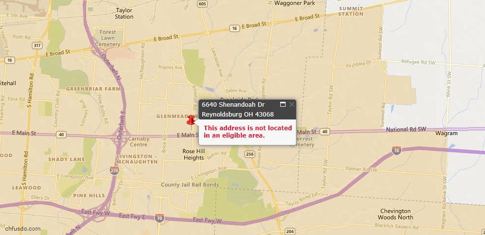 USDA Loan Eligiblity Maps From - Reynoldsburg, OH
