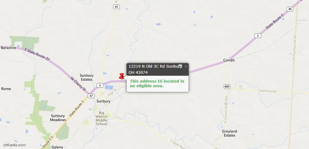 USDA Loan Eligiblity Maps From - Sunbury, OH