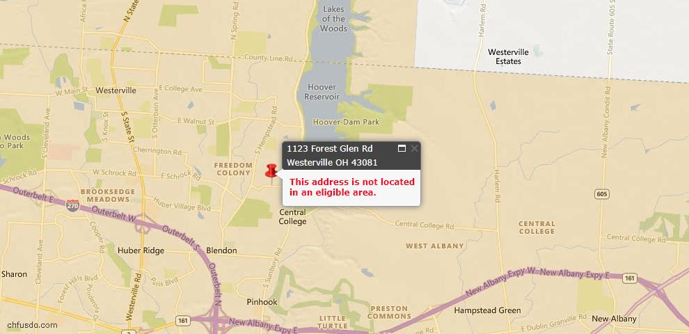 USDA Loan Eligiblity Map - 1123 Forest Glen Rd, Westerville, OH 43081