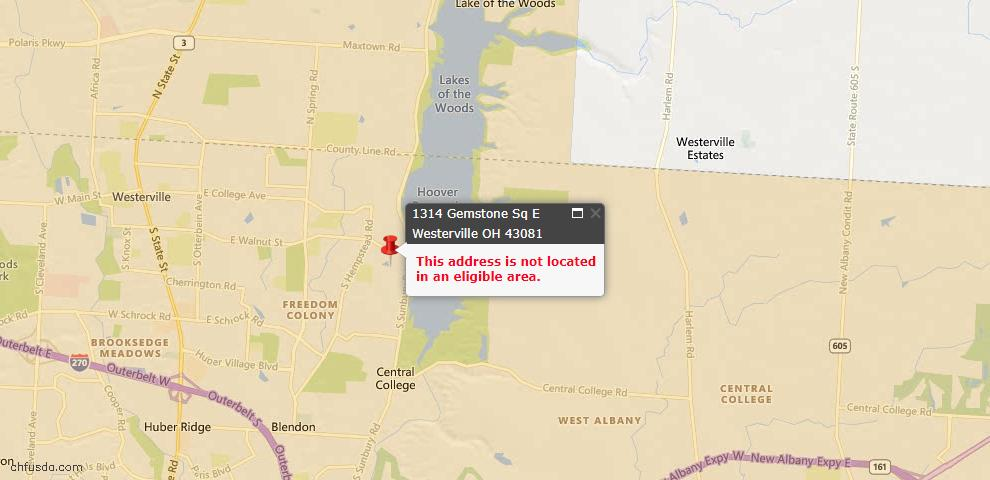 USDA Loan Eligiblity Map - 1314 Gemstone Sq E, Westerville, OH 43081