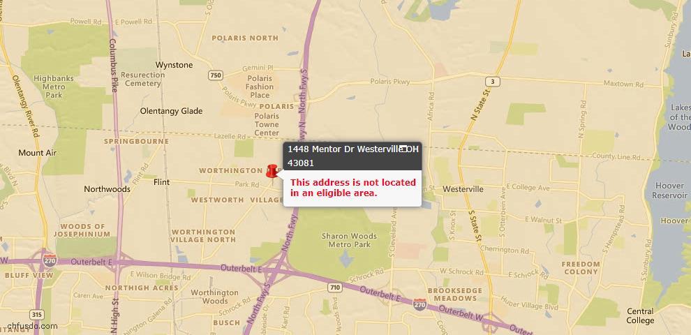 USDA Loan Eligiblity Map - 1448 Mentor Dr, Westerville, OH 43081
