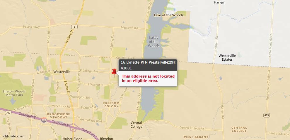 USDA Loan Eligiblity Map - 16 Lynette Pl N, Westerville, OH 43081