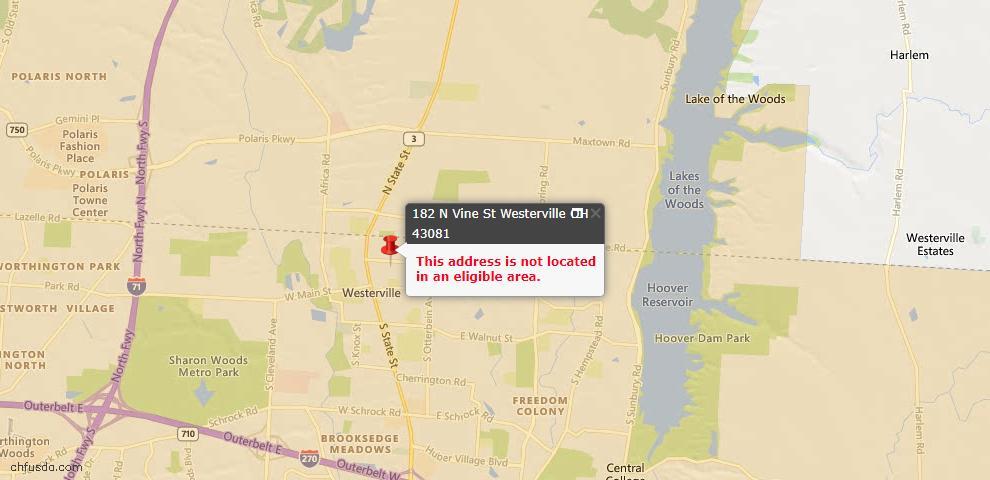 USDA Loan Eligiblity Map - 182 N Vine St, Westerville, OH 43081