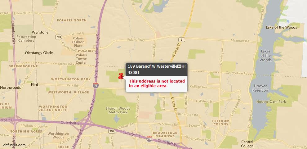 USDA Loan Eligiblity Maps From - Westerville, OH